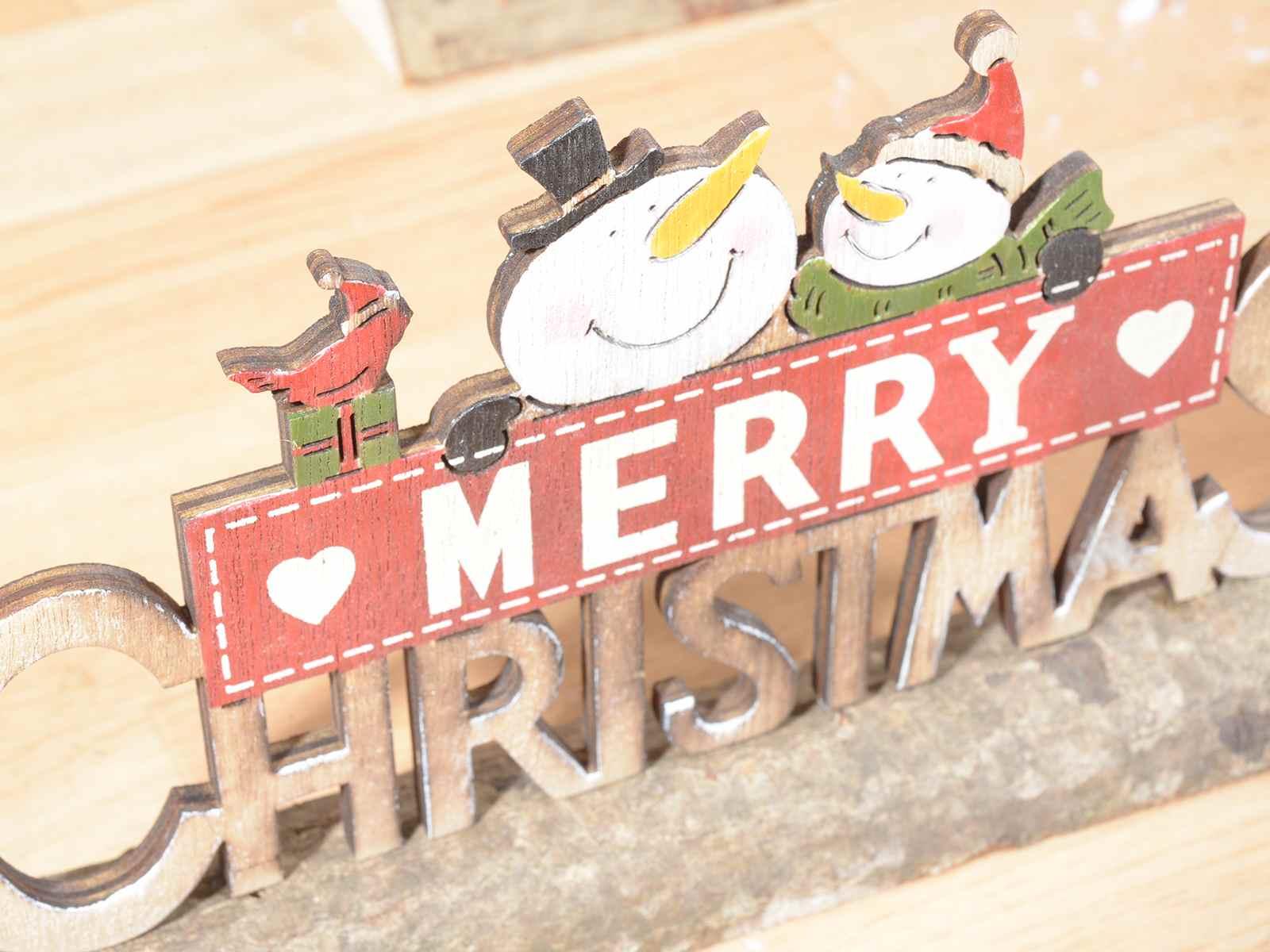Scritta natalizia merry christmas in legno francesca for Scritta home in legno